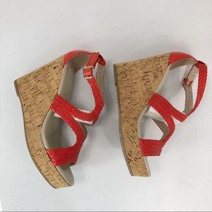 Banana Republic Shoes - Banana Republic Wedge  Orange Sandals sz 8.5 (#36)